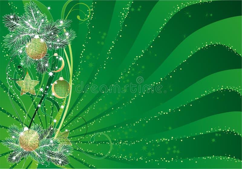 Priorità bassa verde dell'estratto di natale illustrazione vettoriale
