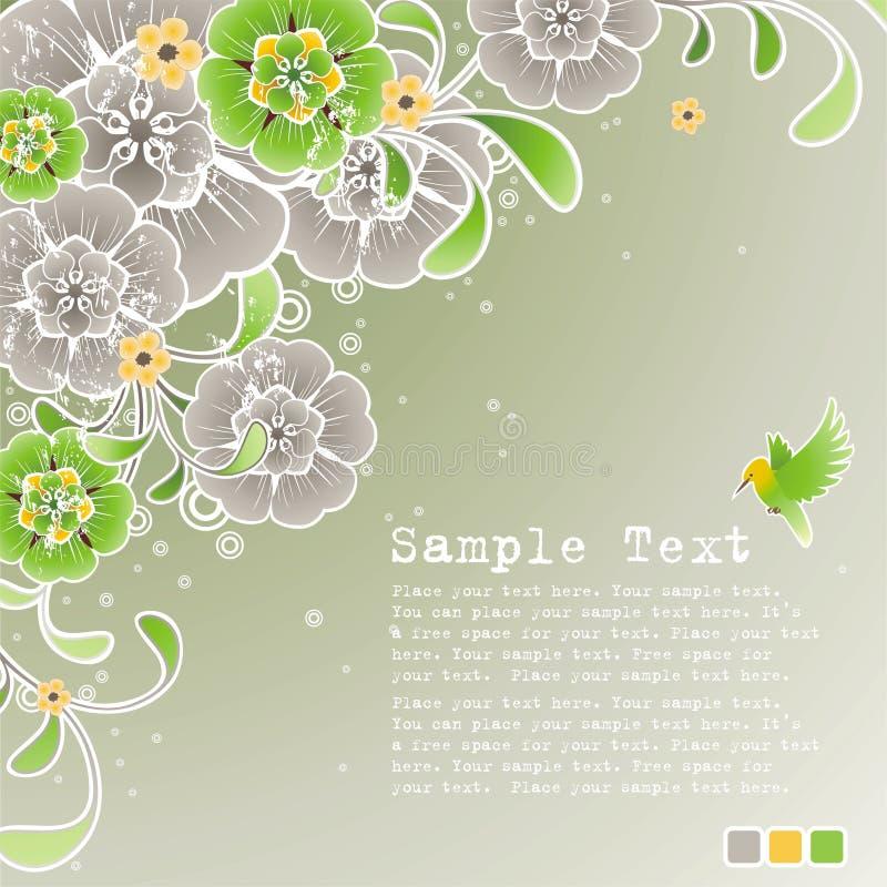Priorità bassa verde della sorgente con l'ornamento floreale immagini stock libere da diritti