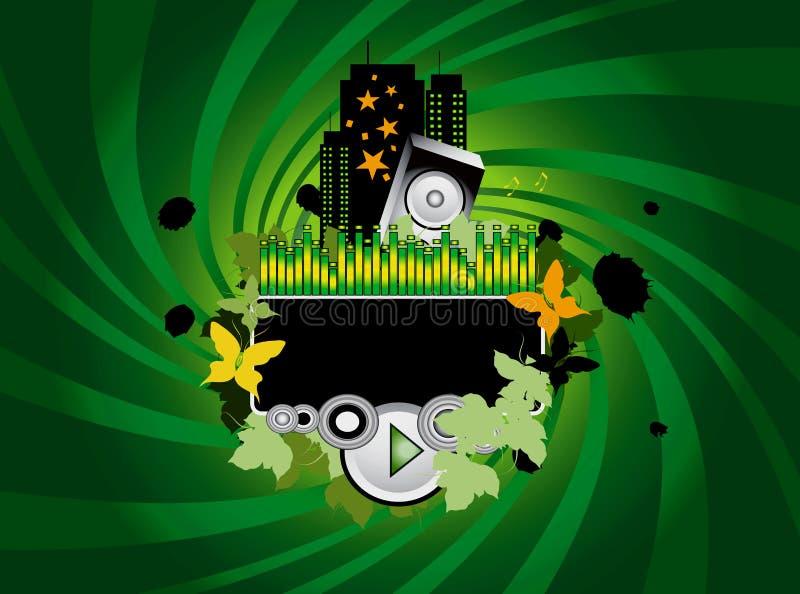 Priorità bassa verde di musica illustrazione vettoriale