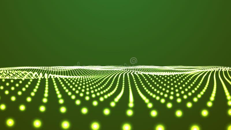 Priorità bassa verde di paesaggio Griglia del paesaggio del Cyberspace illustrazione di vettore di tecnologia 3d Paesaggio astrat royalty illustrazione gratis