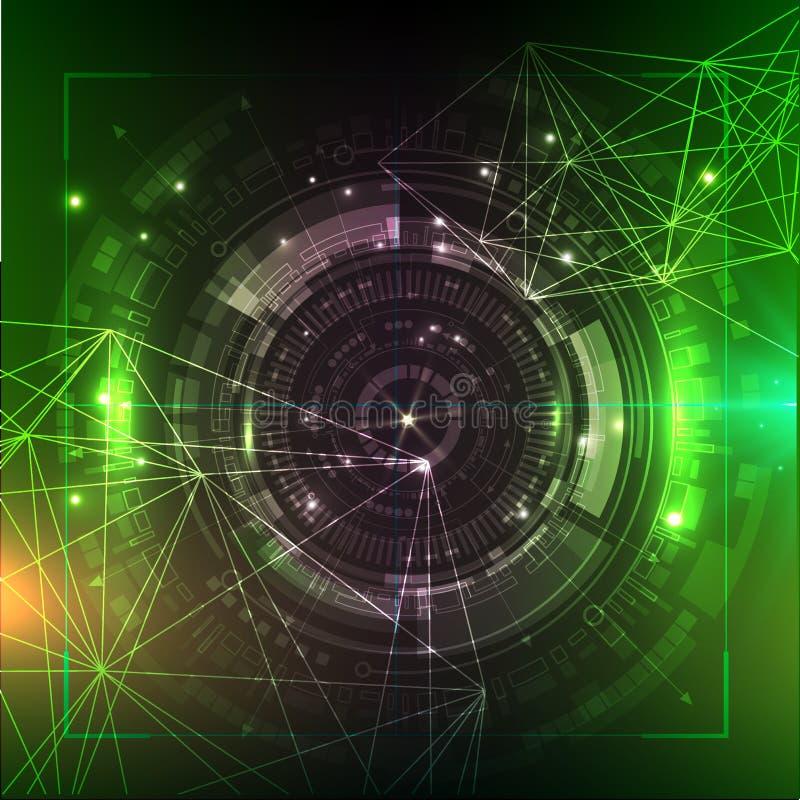 Priorità bassa verde di tecnologia Illustrazione futuristica illustrazione vettoriale