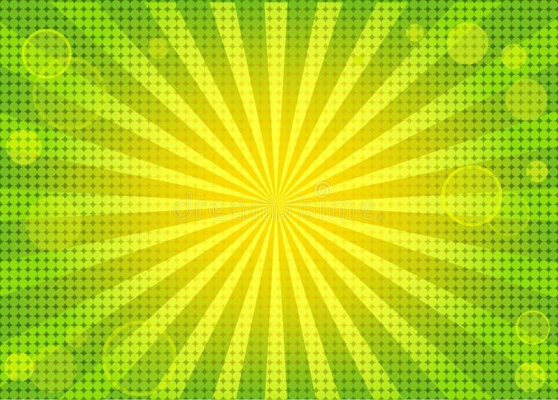 Priorità bassa verde intenso astratta con i raggi royalty illustrazione gratis