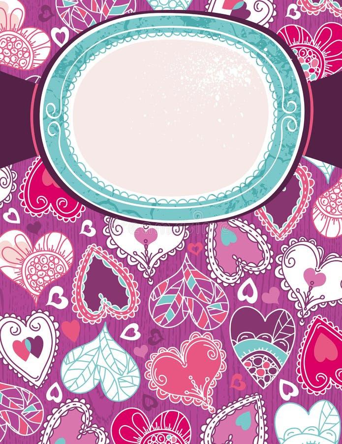 Priorità bassa viola del biglietto di S. Valentino con i cuori di colore illustrazione vettoriale