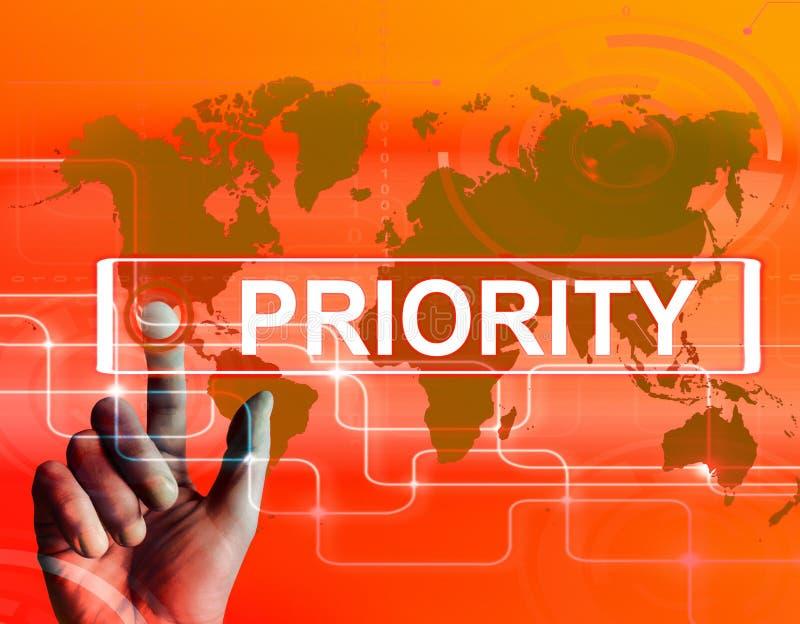 Prioritäts-Karte zeigt Überlegenheit oder Präferenz in der Bedeutung Wo an stock abbildung