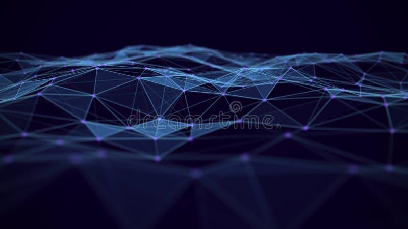 Priorit? bassa astratta di tecnologia Connessioni di rete con i punti e le linee Wireframe futuristico della rete del cavo di tec illustrazione di stock
