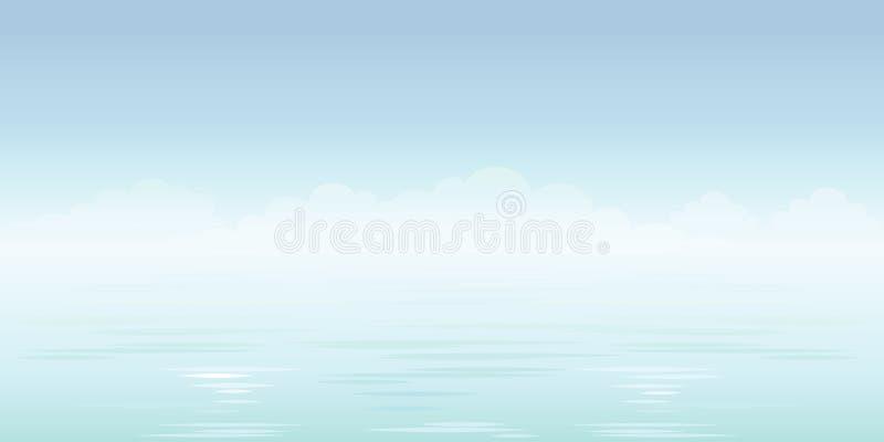 Priorit? bassa blu del mare Cielo, nubi ed oceano Vettore immagine stock libera da diritti