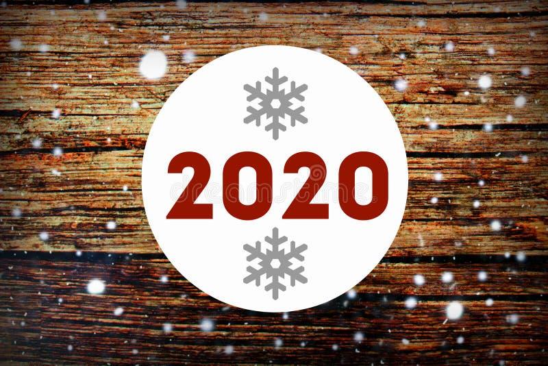 2020 Priorit? bassa dell'albero di nuovo anno Congratulazioni sul nuovo anno 2020 fotografia stock libera da diritti