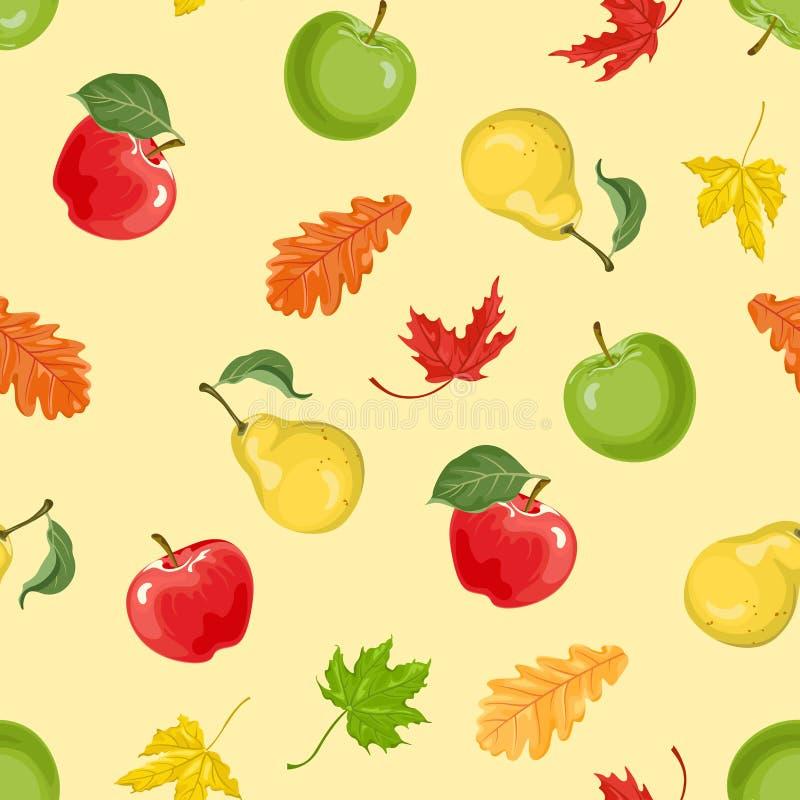 Priorit? bassa di autunno Mele, pere e modello senza cuciture caduto delle foglie illustrazione vettoriale