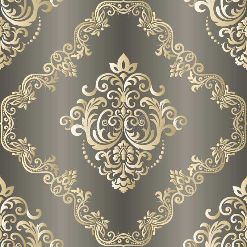 Priorit? bassa senza giunte di vettore Fondo d'annata con il modello del damasco nel retro stile Islam, indiano, arabo illustrazione vettoriale