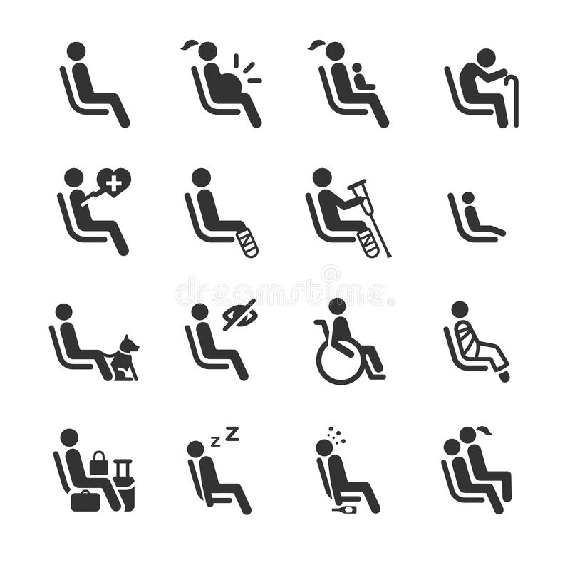PrioritetsSeat symboler för tecken för offentligt trans. royaltyfri illustrationer