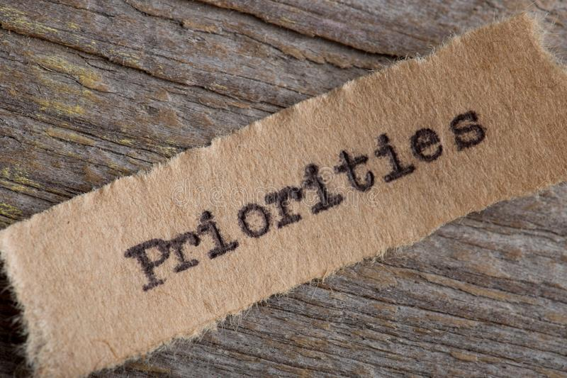 Priorities - word on a piece of paper close up, business creative motivation concept. Goal, importance, mission, plan, priority, project, strategy, banner royalty free stock image