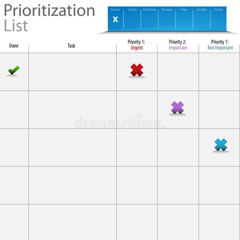 Prioritization Listy Mapa ilustracja wektor