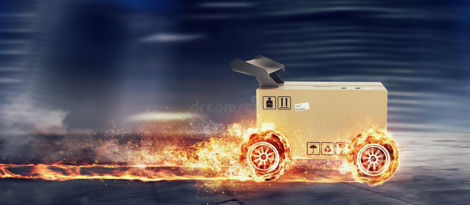 Priority Cardboard box with racing wheels on fire. Fast shipping by road. royalty free stock photo