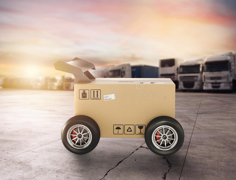 Priority Cardboard box with racing wheels like a car. Fast shipping by road. stock image