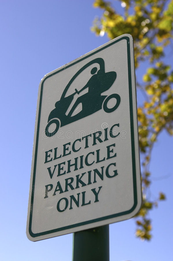 Priority parking sign for electric vehicles only in celebration florida united states usa stock photo