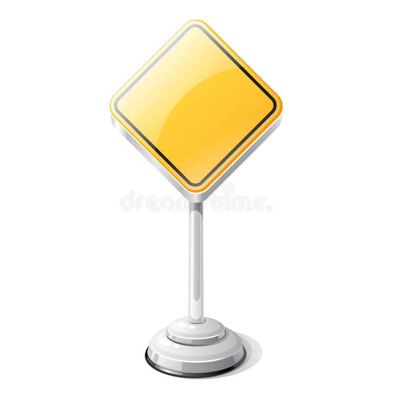 Priority road traffic sign isolated on white vector illustration