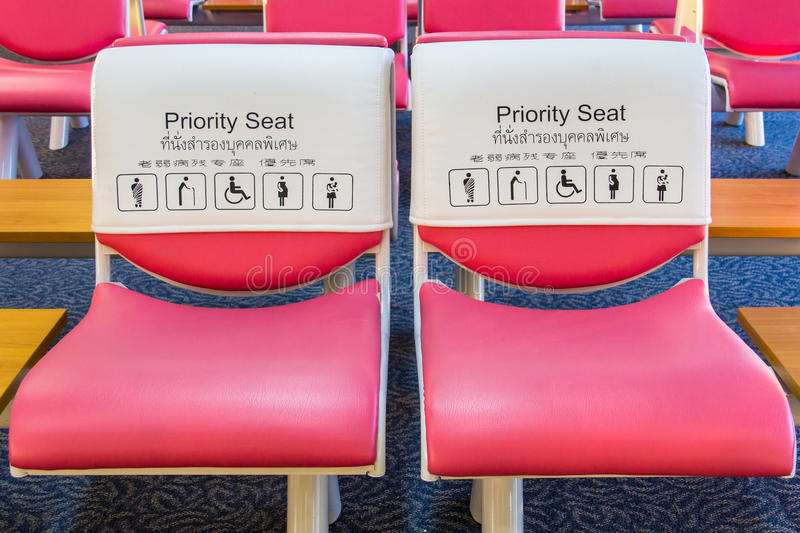 Priority seat for special person stock images