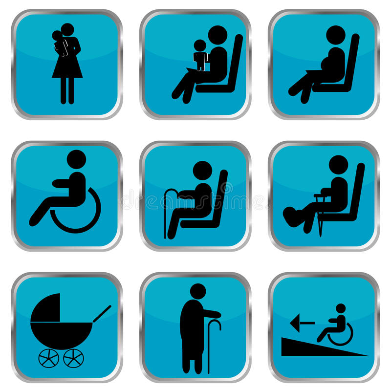 Free Priority Seating Area Buttons Royalty Free Stock Image - 84172376