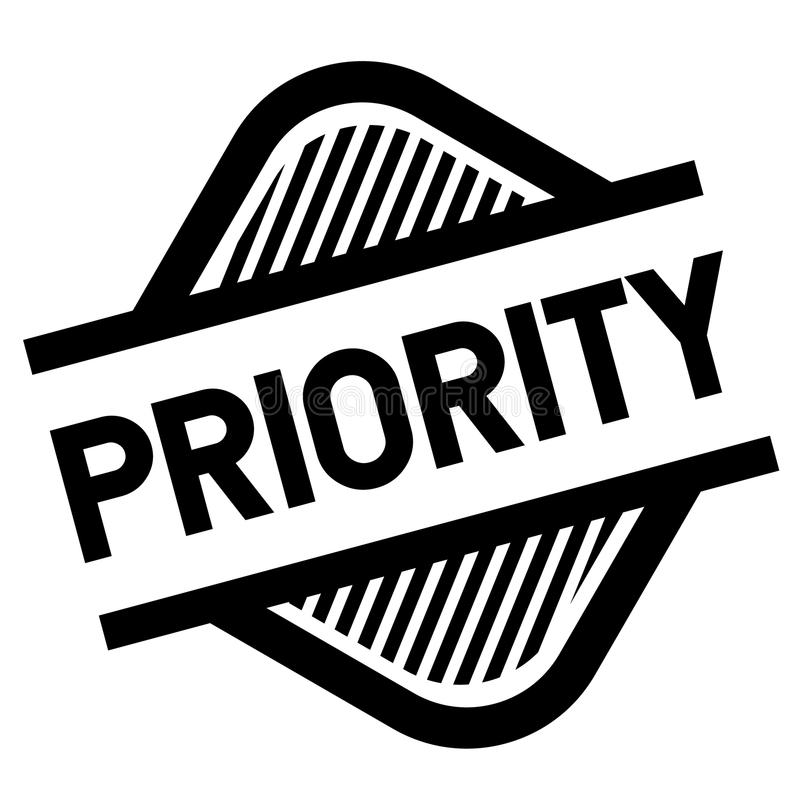 Priority stamp on white. Background . Sign, label sticker stock illustration