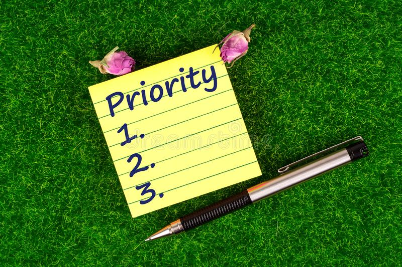 Priority in note royalty free stock images