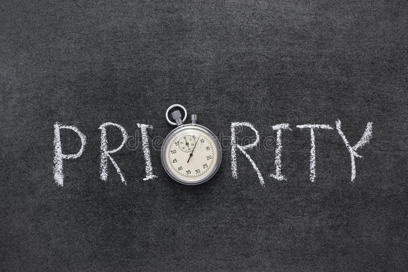 Priority word. Handwritten on chalkboard with vintage precise stopwatch used instead of O royalty free stock photo