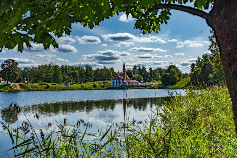 Priory Palace and lake in Gatchina, Leningrad oblast, Russia royalty free stock photos