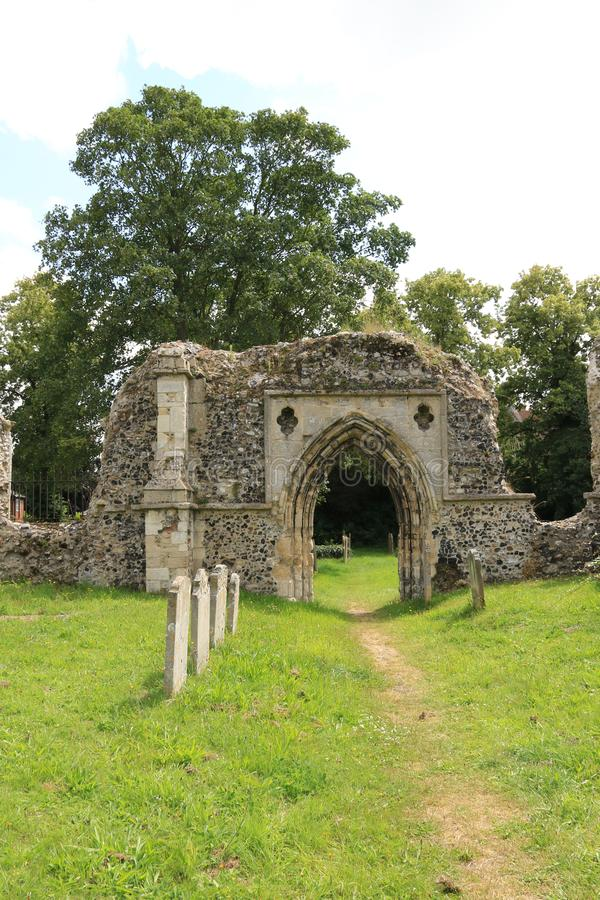 Priory ruins Bungay. St Mary`s Church is a redundant Anglican church in the town of Bungay, Suffolk, England. The church and the ruins of the adjacent priory are stock photography