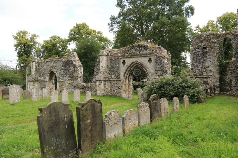 Priory ruins and gravestones Bungay. St Mary`s Church is a redundant Anglican church in the town of Bungay, Suffolk, England. The church and the ruins of the stock images
