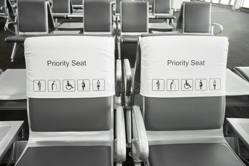Priorytetów siedzenia w lotnisku obraz royalty free