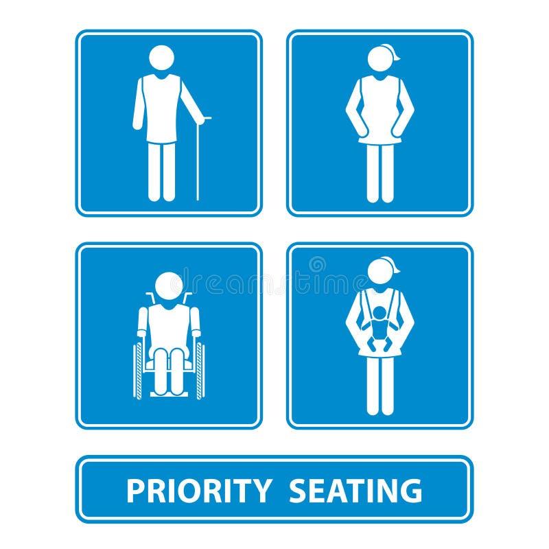 Priorytetu miejsca siedzące znak royalty ilustracja