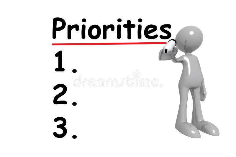 Priorytety pisania na biało royalty ilustracja