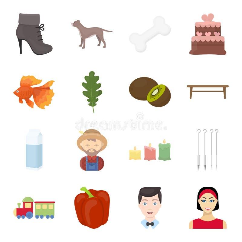 Pripod, celebrazione, affare e l'altra icona di web nello stile del fumetto ragazza, cerchio, icone di resto nella raccolta dell' illustrazione vettoriale