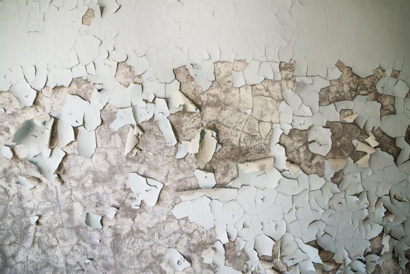 在一个落寞大厦的墙壁上的被剥皮的油漆在被放弃的Pripyat的 切尔诺贝利区域 免版税库存照片