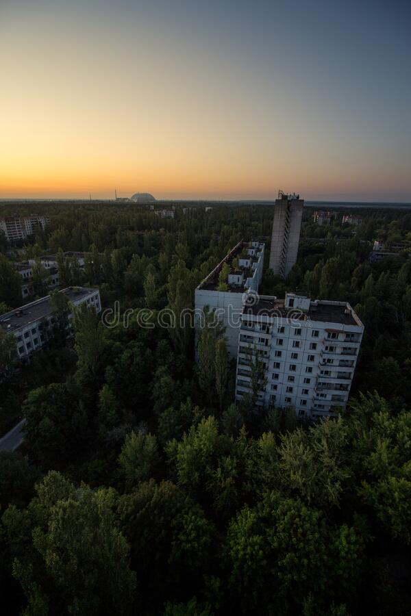 Free Pripyat City And Reactor 4 Dome Chernobyl Exclusion Zone Today Stock Photo - 176260410