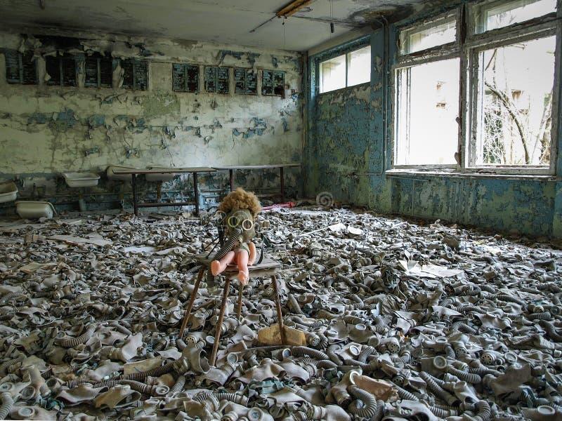 Pripyat in de de Uitsluitingsstreek van Tchernobyl, de Oekraïne, 2016 stock foto's