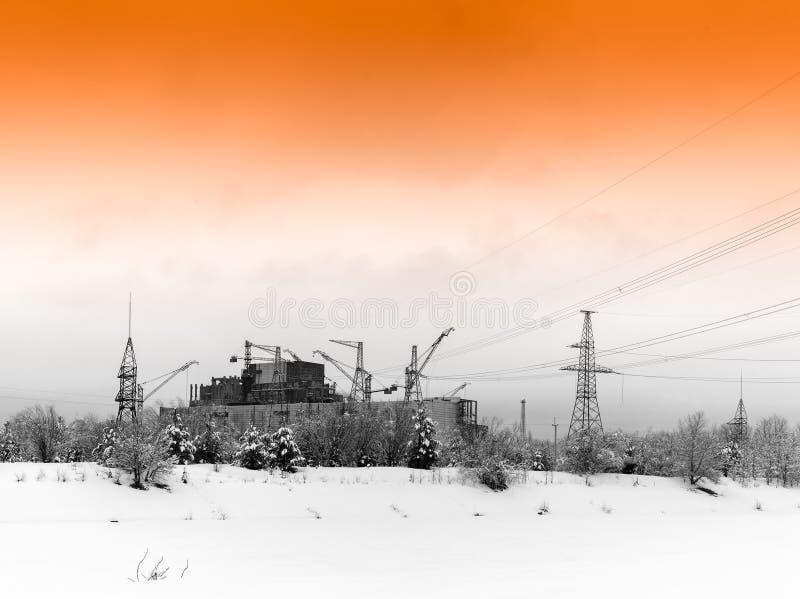 Pripyat industriellt atom- kärnalandskap royaltyfri fotografi