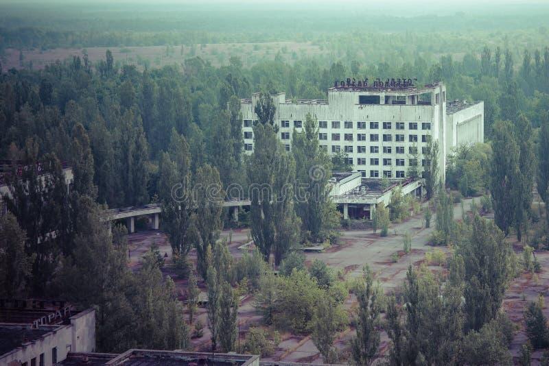 Pripyat-Stadtzentrum und Hotel Polese, Tschornobyl-Zone lizenzfreies stockbild