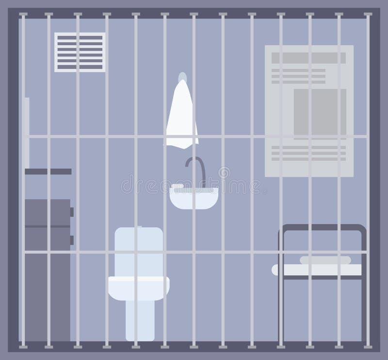 Prisão, cadeia ou sala vazia do centro de detenção com cama, toalete e dissipador e outras facilidades atrás das barras ou da gra ilustração stock