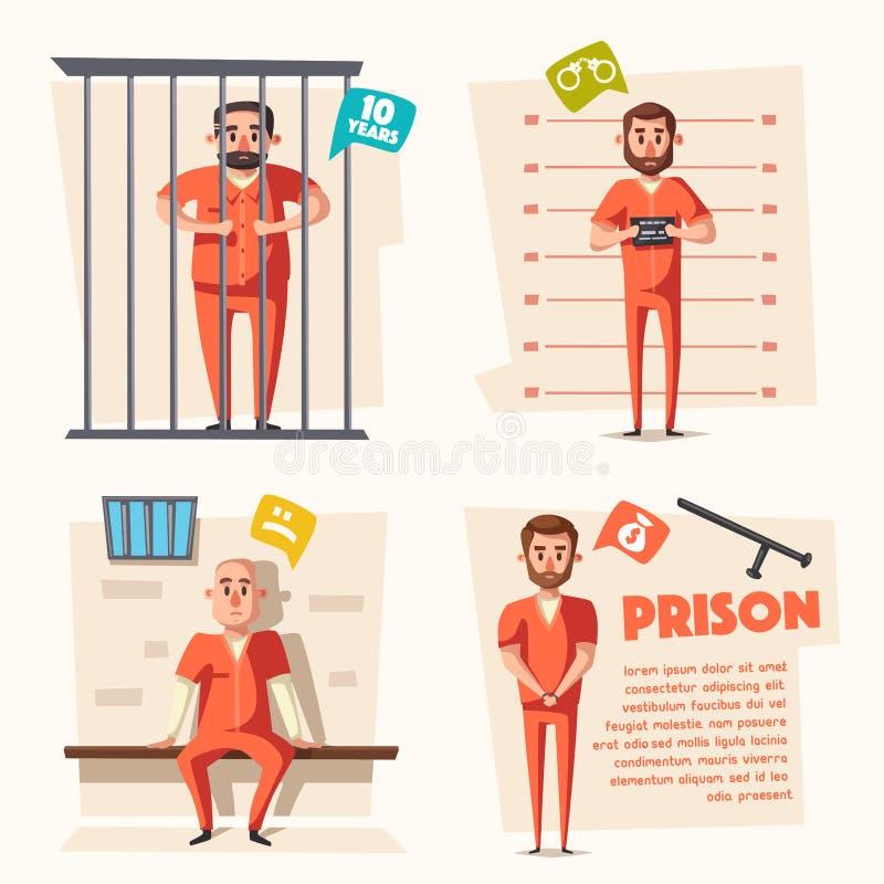 prisão Criminoso no uniforme Ilustração do vetor dos desenhos animados ilustração do vetor