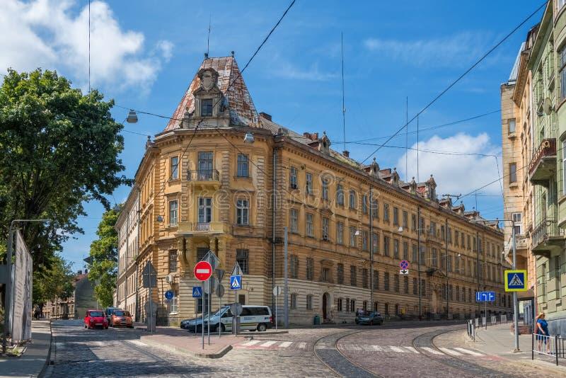 Prisão nacional do museu da relembrança na rua de Lacki em Lviv, Ucrânia fotografia de stock royalty free