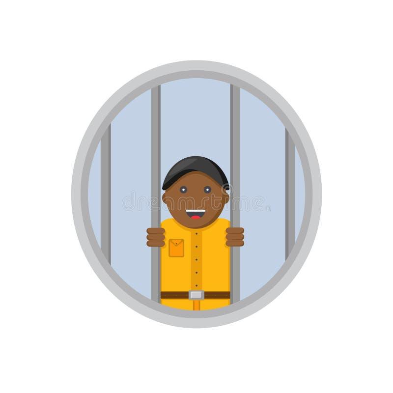 Prisão sem os prisioneiros masculinos do sorriso ilustração do vetor