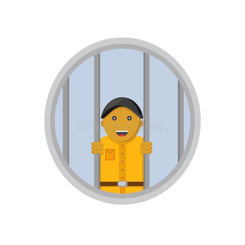 Prisão sem os prisioneiros masculinos do sorriso ilustração royalty free