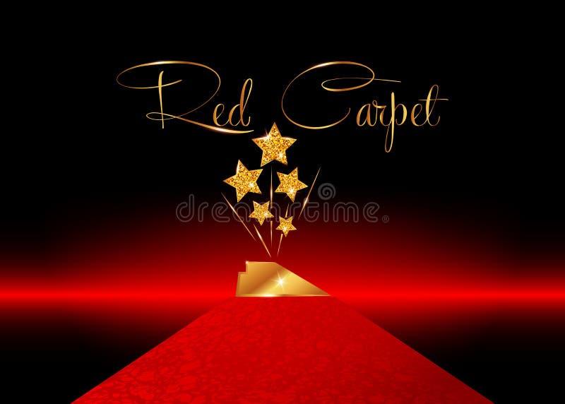 Pris för staty för UTMÄRKELSE för STJÄRNA för HOLLYWOOD filmPARTI som guld- ger ceremoni röd matta och guld- stjärnor prisbegrepp royaltyfri illustrationer