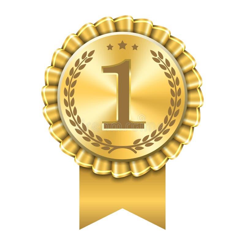 Pris f?r medalj 1 f?r guld- f?r symbol f?r utm?rkelseband f?r nummer f?rsta vinnare f?r design guld- B?sta trof? f?r symbol, 1st  vektor illustrationer