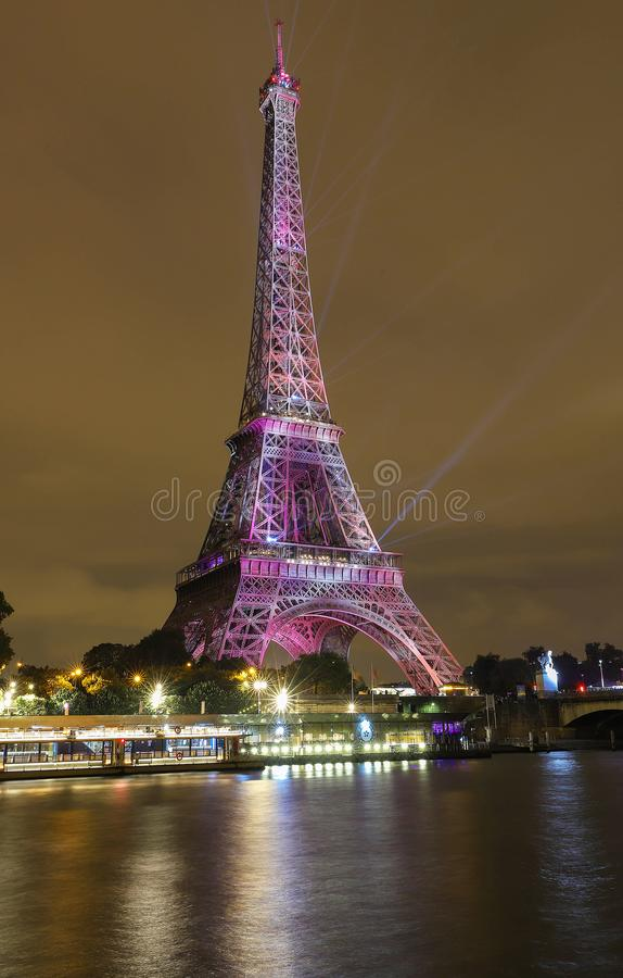 The light show on the Eiffel Tower,on the night of Sept. 13 2018 to celebrate the 160th anniversary of Japan-France stock image