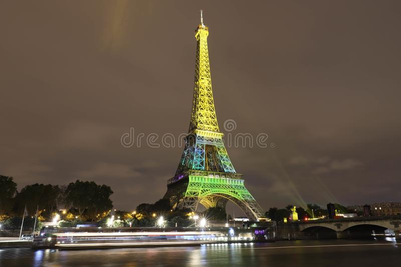 The light show on the Eiffel Tower,on the night of Sept. 13 2018 to celebrate the 160th anniversary of Japan-France stock photography