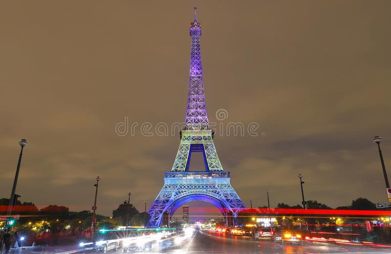 The light show on the Eiffel Tower,on the night of Sept. 13 2018 to celebrate the 160th anniversary of Japan-France stock photo