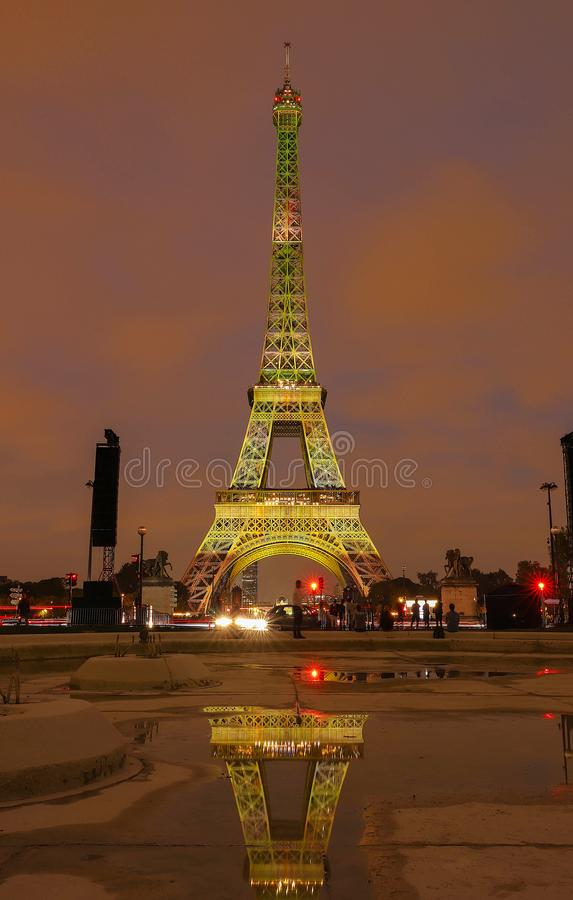 The light show on the Eiffel Tower,on the night of Sept. 13 2018 to celebrate the 160th anniversary of Japan-France stock images