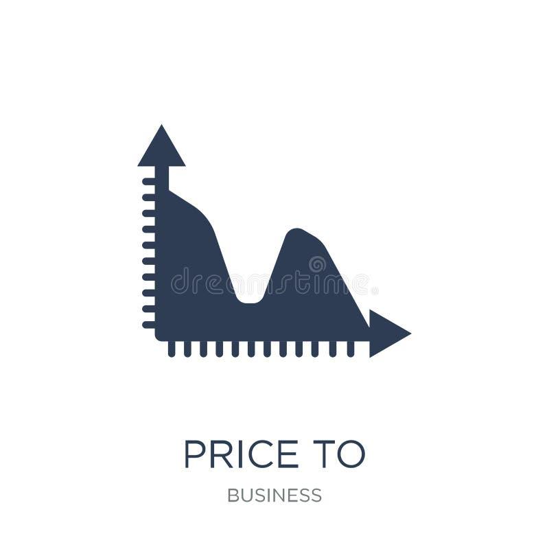 Pris till symbolen för förtjänstförhållande (PEförhållande) Moderiktig plan vektor Pric royaltyfri illustrationer