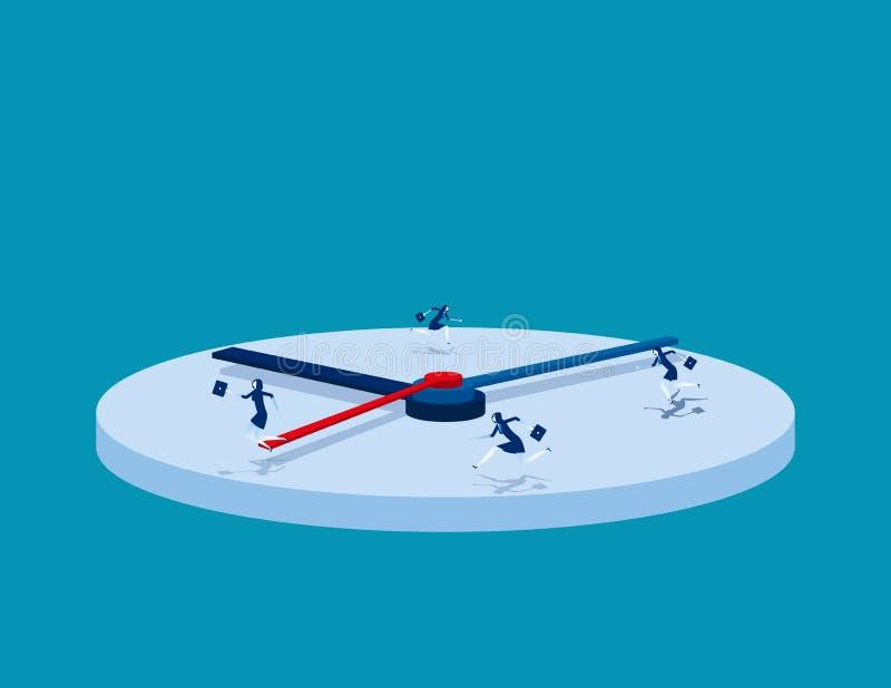 prisa Hombres de negocios y hora punta Ejemplo del vector del negocio del concepto ilustración del vector